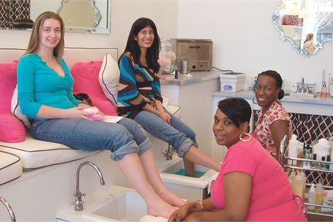 <p>My friend Maria is treated to a French Pedicure with nail tech Andrea Pope; I enjoy an Essential Pedicure with Cheala Neves.</p>