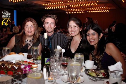 <p>Associate publisher Michelle Mullen, Senior Editor Tim Crowley, Associate Editor Kim Pham, and Managing Editor Sree Roy enjoyed the Maggies ceremony.</p>