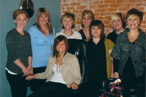 <p>Left to right are Lauren Harris,  Lisa Wealer, Jill Cumpton, Ashley DeGroush, Natalie Stone, Amanda Cox, Brooke Shephard, and Kala Bastion (seated).</p>