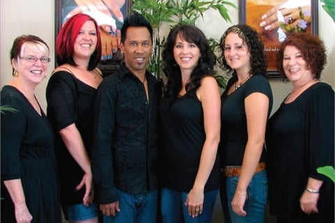 Left to right are Marti Simpson (receptionist), Charlie Krier (nail tech), Godfrey Galigo (hairstylist), Christie Gibson (salon owner and nail tech), Elyse Lovett (nail tech apprentice and Gibson's daughter), and Rhonda Balmer (hairstylist).