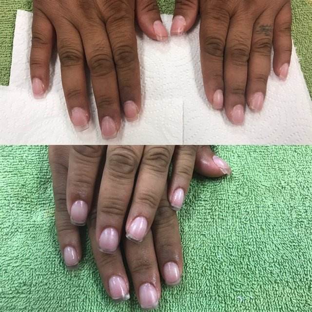 The before and after photo of a fill I did on my classmate.
