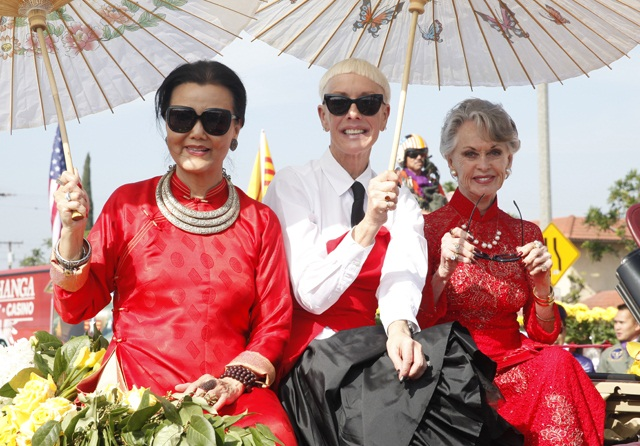 Actress Kieu Chinh, CND's Jan Arnold, and actress and humanitaran Tippi Hedren rode in style in the Little Saigon Tet Parade on Sat., Feb. 13th.