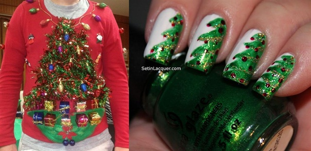 "<p>Sweater: <a href=""http://www.yourfashiondress.com/diy-ugly-christmas-sweater/ugly-christmas-sweater-ideas-snappy-pixels-2/"">www.yourfashiondress.com; </a>Nail art: <a href=""http://www.setinlacquer.com/2012/12/christmas-tree-nail-art.html"">www.setinlacquer.com</a></p>"