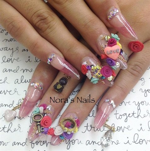 Nail Tech Nora Bustos Nelibr4 Of Stockton Calif Demonstrates How She Sculpted Charms To Bling A Valentine S Day Inspired Set