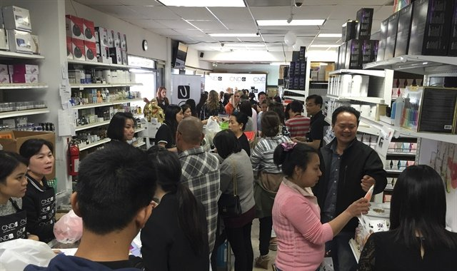 <p>Demo booths, product giveaways, a photo booth, and attendees took over every inch of Whale Spa's beauty store space.</p>