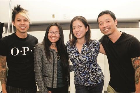 <p>From left: Robert Ngyuen, Ahn Tran,(Viet Salon managing editor), Kimp Pham (Viet Salon editor), Vu Ong (NAILS/ Viet Salon cover photographer).</p>