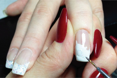 Beginner nail art with watercolor paint technique nails magazine prep prime and bond the nail apply amore ultima gel in primary white where the flower will be painted and freeze cure its important to map out where prinsesfo Choice Image