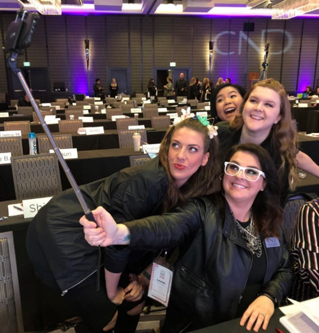 <p>So many selfies! Heather Davis of CND shows how it's done</p>