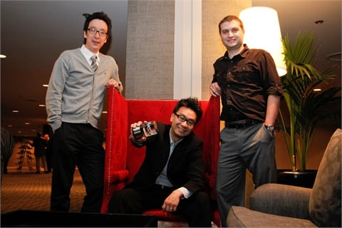 <p>Web designer Min Kim, director of e-media Sam Kim, and senior software developer Miljan Mihajlovic were pumped for their first Maggies banquet. It definitely helps when you win!</p>