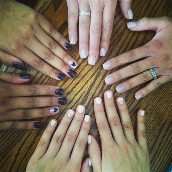 The wedding party's group nail shot.