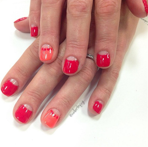 <p>This is was the first set of nail art I did on a classmate after a manicure.</p>