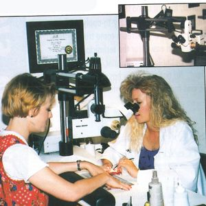 Microscopes at Micro Manicure Salon allow technicians to examine minute details on nails without...