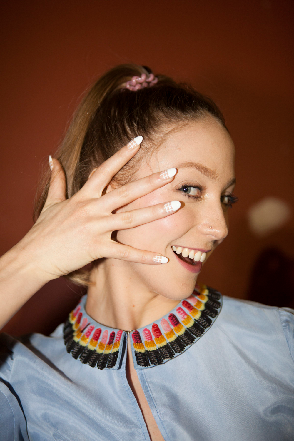 <p>Miss Pop created five unique nail looks using imPRESS Manicure Oval as her base at Rachel Antonoff</p>