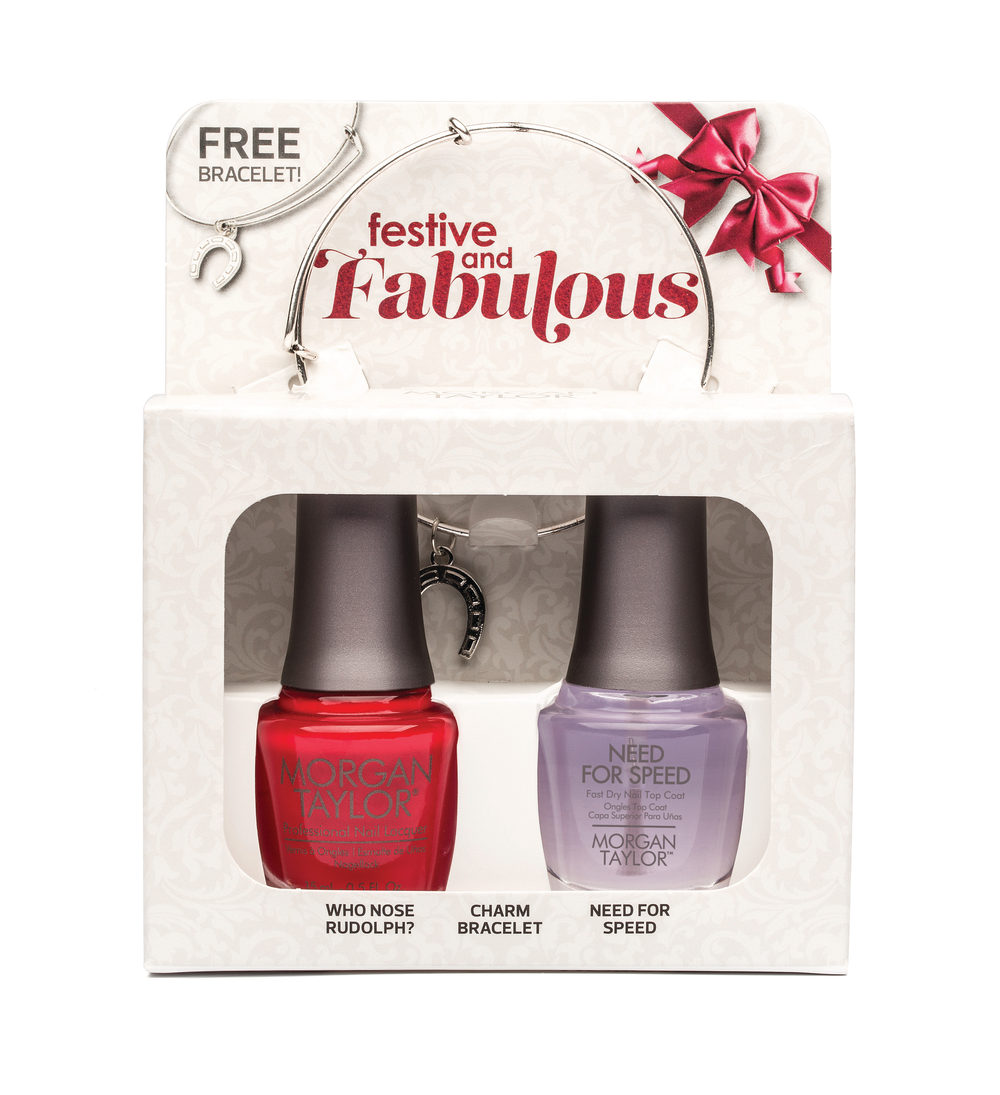 <p>Holiday duos from Morgan Taylor include a top coat, one special nail polish color from the Wrapped in Glamour Collection, and a gift of nail glitter or a charm bracelet.&nbsp;</p>