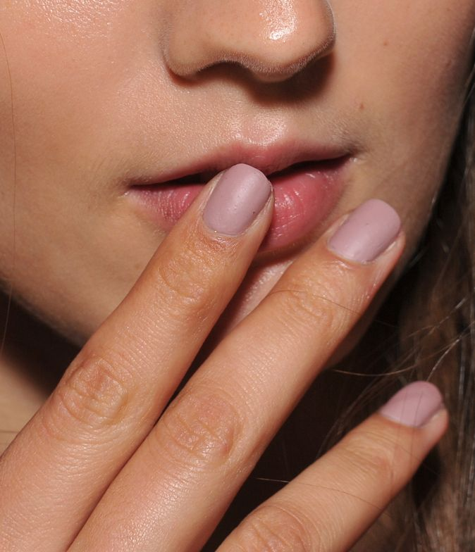 <p>Gina Edwards gave nails at Ulla Johnson a clay-like finish by using a matte top coat. Photo courtesy of Morgan Taylor.</p>