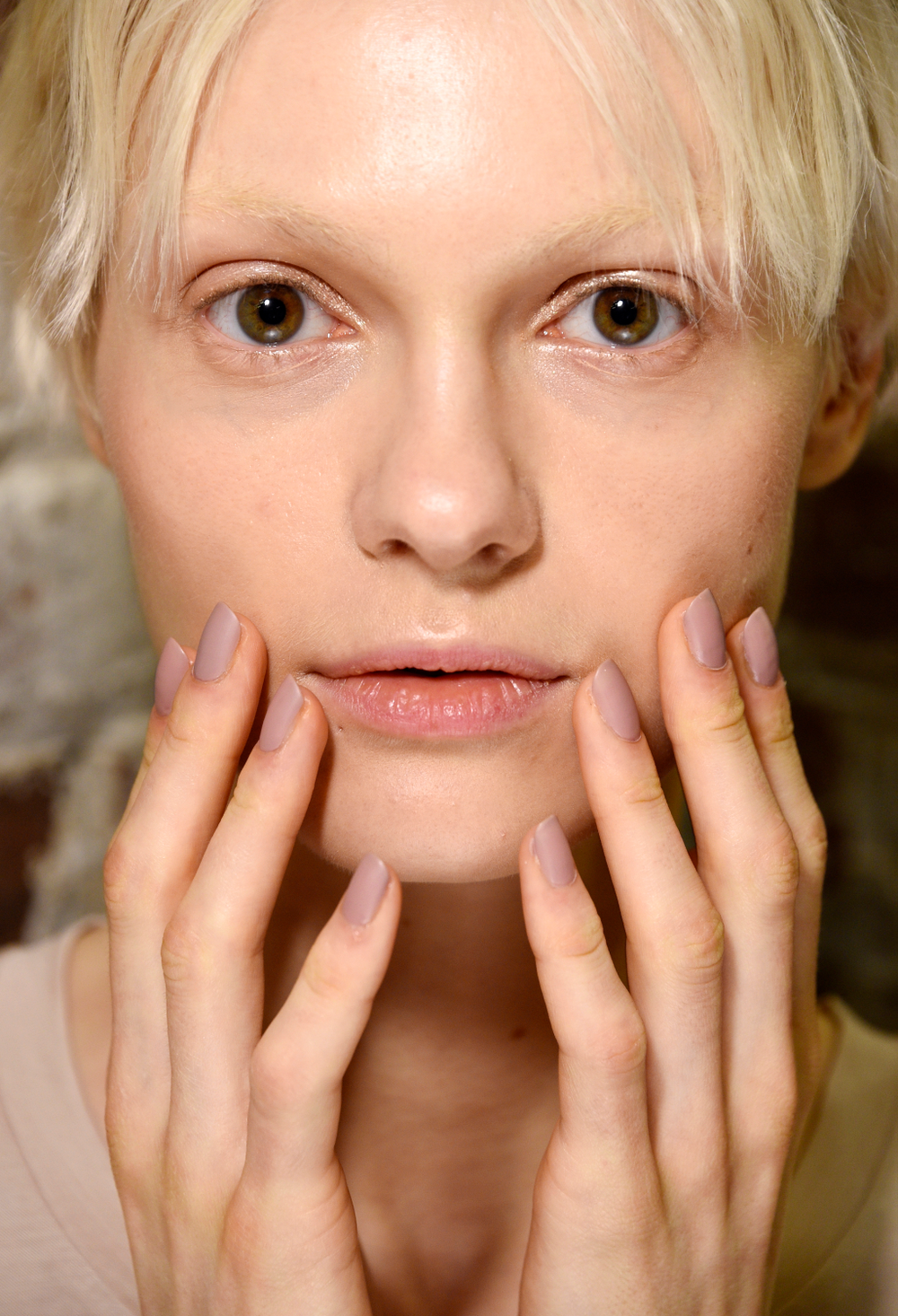 <p>Edwards used Perfect Match for a dusty rose colored nail at Ulla Johnson. Photo courtesy of Morgan Taylor.</p>