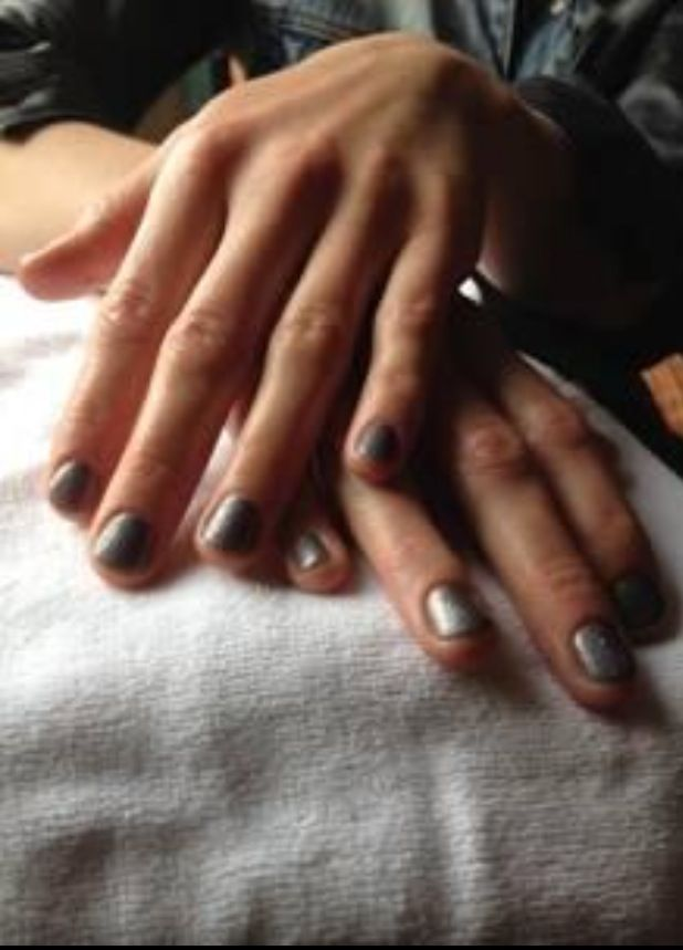 <p>Celebrity manicurist Jolene Brodeur polished Tatiana Maslany's nails with two coats of Red Carpet Manicure's Ligther Shade of Grey followed by one coat of Thank U Mom &amp; Dad. Image via @redcarpetmanicure.</p>