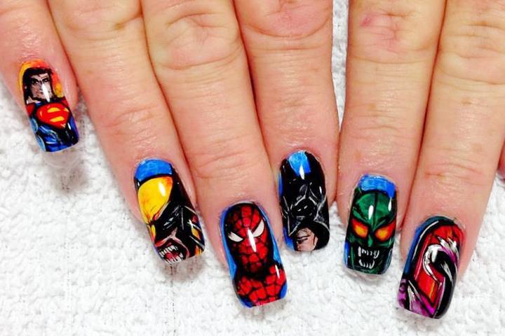 "<p>Superman, Wolverine, Spiderman, Batman, Green Goblin, and Magneto nails by <a href=""http://instagram.com/max_nguyen_artist"">Max Nguyen</a>, Bellagio Salon, Lebanon, Tenn.</p>"