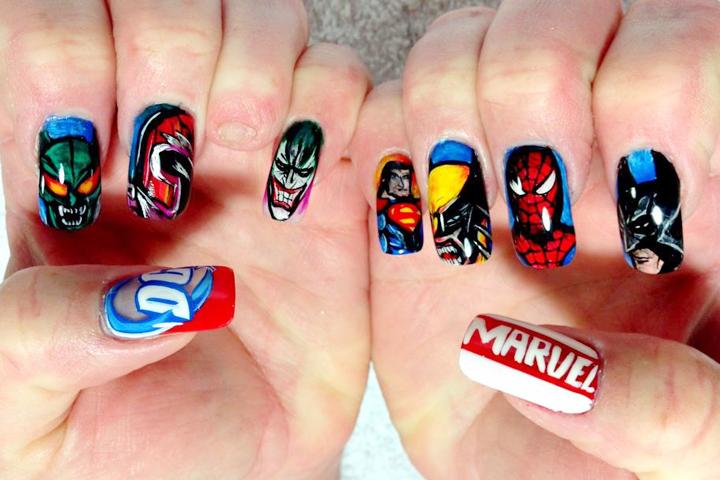 "<p>DC nails/Marvel nails by <a href=""http://instagram.com/max_nguyen_artist"">Max Nguyen</a>, Bellagio Salon, Lebanon, Tenn.</p>"