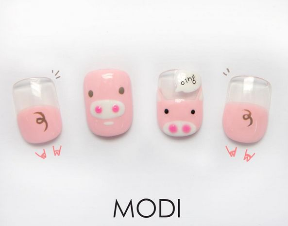 Pig Nail Art for National Bacon Day