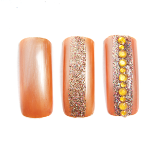 Apply gold rhinestones down the vertical center of the nail.