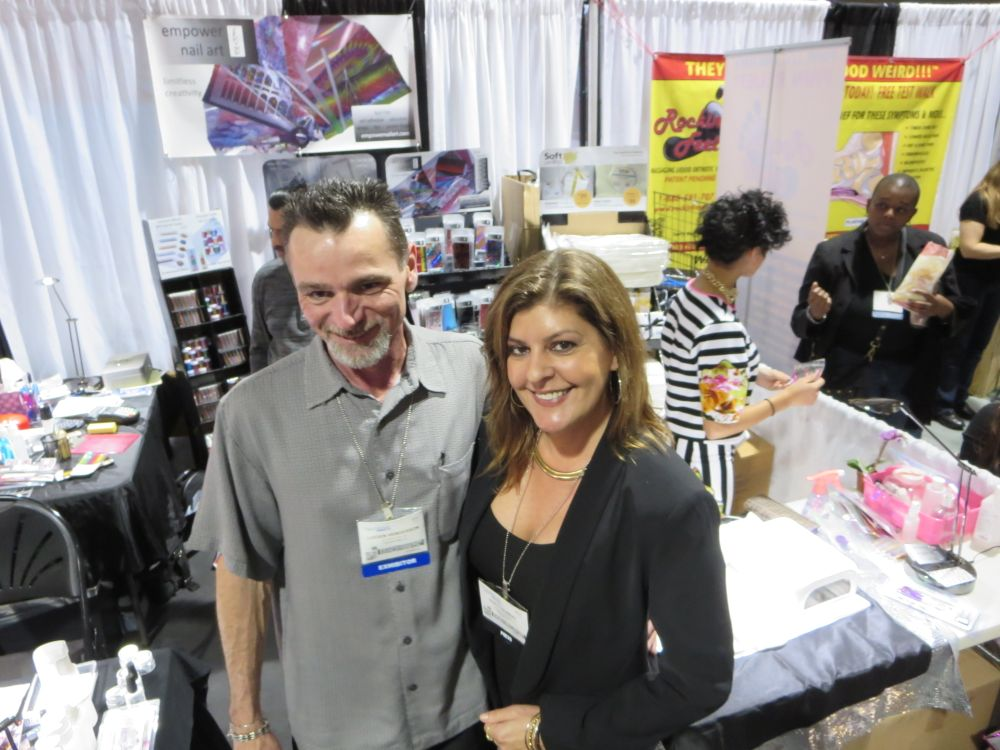 <p>Empower Nail Art's Lucien Henderson with NAILS senior editor Tracy Rubert.</p>