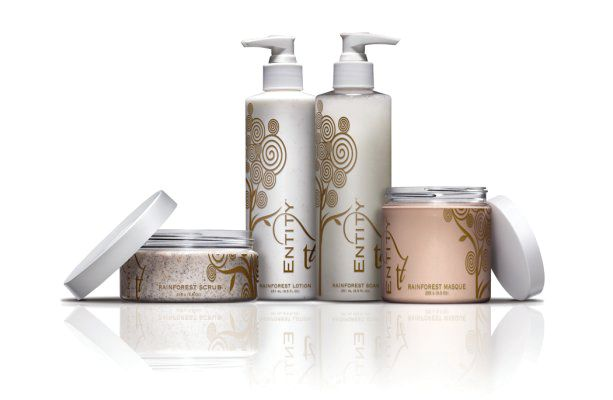 """<p>The Rainforest Body Couture line by Entity Beauty renews the skin and the senses. Inspired by the healing spirit of the tropical rainforest, this pedicure system infuses treatments with rich nutrients and exotic ingredients that revitalize the skin. A soak, scrub, mask, and nanotechnology-based lotion work in harmony for a relaxing experience.</p> <p><a href=""""http://www.entitybeauty.com"""">www.entitybeauty.com</a></p>"""