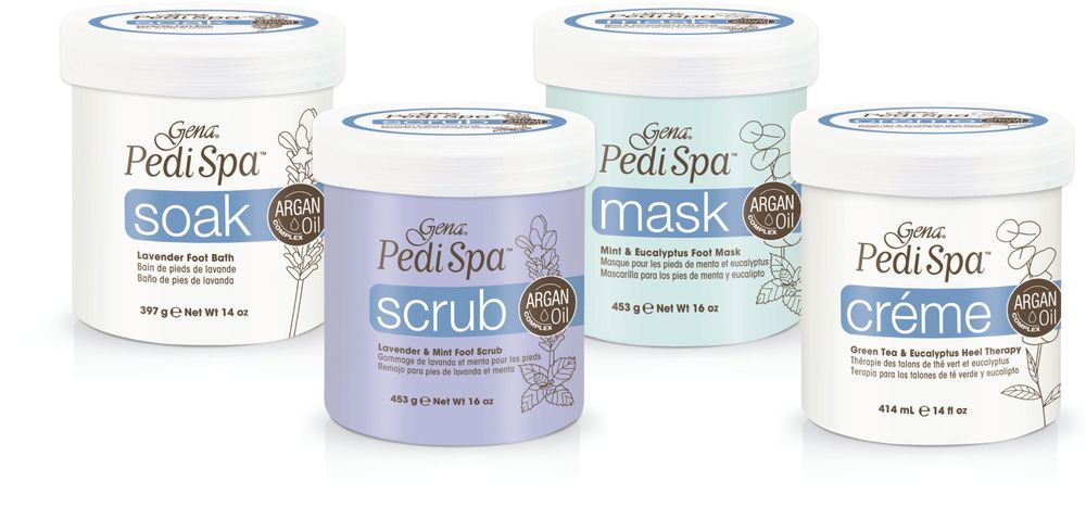 """<p>Gena&rsquo;s PediSpa Line, infused with argan, jojoba, caster, olive, and sunflower seed oils, features four ultra-hydrating steps to a rejuvenating pedicure. The line includes lavender foot bath, lavender and mint foot scrub, mint and eucalyptus foot mask, and green tea and eucalyptus heel therapy. The natural ingredients have anti-inflammatory and anti-microbial properties and clean, prep, exfoliate, stimulate, and penetrate even the driest of skin.</p> <p><a href=""""http://genaspaproducts.com/"""">http://genaspaproducts.com/</a></p>"""