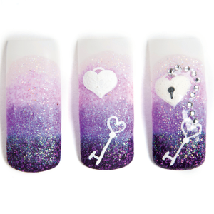 Fill in the heart with a thin coat of sparkle nail polish. Use the detail nail art brush and...