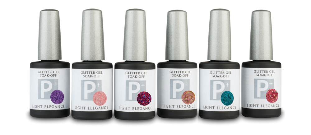 <p>Available now, the Spring 2015 Light Elegance Glitter Gel Collection includes six sparkling glitter sensations. As the flowers pop out, make every service pop with P+ Glitter Gel. As the spring showers hit, soak it off and reapply. Make this spring sparkle with Lagoon, Sprinkles, Love Boat, Baby Doll, Violet, and Sweetheart.&nbsp;</p>