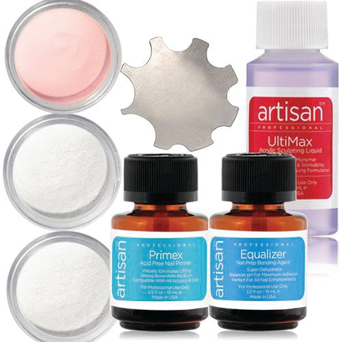 <p>Whether you&rsquo;re a novice or an expert, this kit from The Nail Superstore is packed with acrylic French manicure perfection. The system applies consistently and self-levels so you can finish faster. It is also virtually bubble-free to minimize lifting, chipping, and it&rsquo;s easy to control so you can get any shape you want. The kit includes Artisan Pure Color Powder in Brilliant White, Brilliant Pink Ultra Crystal Clear, Artisan Ultimax Monomer, Artisan Primex, Artisan Equalizer Nail Prep, and C Smile Form.&nbsp;</p>