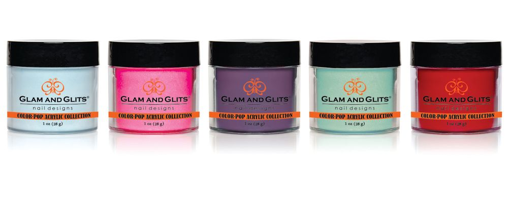 <p>Glam and Glits&rsquo; Color Pop Acrylic Collection will have you tempted to make your own sensational color library with 48 richly pigmented neon colors. Use these powders for a full coverage nail set, 3-D nail art, and more. The brand offers more than 300 glitter and color acrylic powders to choose from.</p>