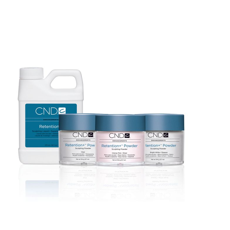 <p>CND&rsquo;s Retention+ Sculpting System is set up for prescriptive care. The Retention+ Sculpting Liquid is a kerantin-bonding, cross-linking sculpting liquid that forms covalent and ionic bonds, creating enhancements with superior adhesion to the natural nail. The CND Sculpting Powders activate cross-linking and polymerization of the liquid and determine the color and coverage levels of the enhancement.&nbsp;</p>