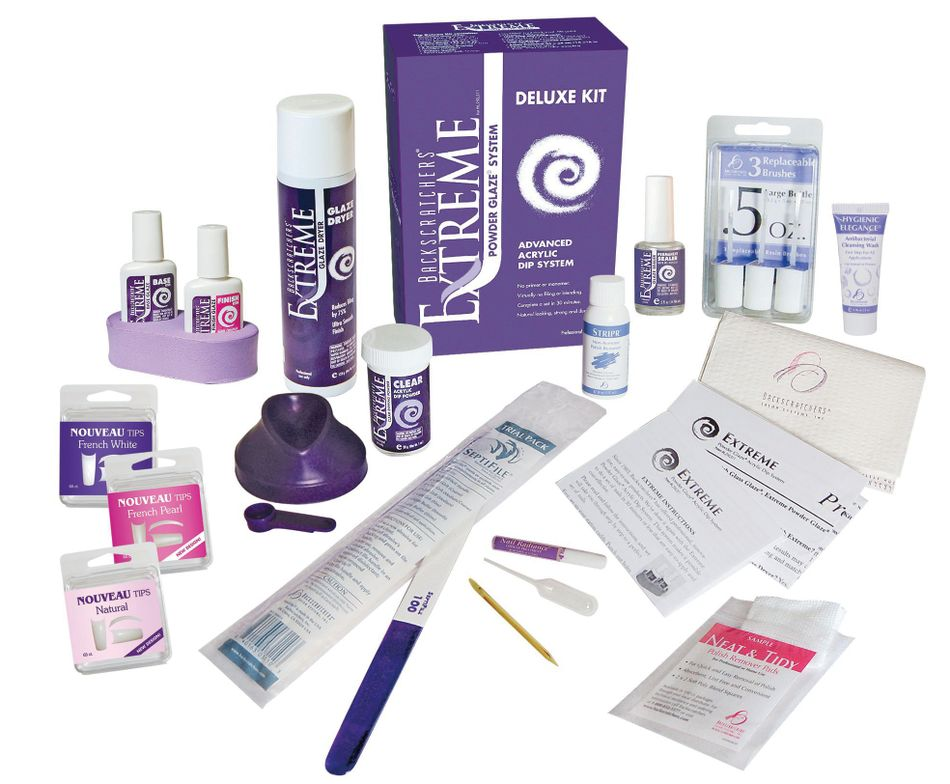 <p>The Extreme Powder Glaze Acrylic Dip System is Backscratchers&rsquo; revolutionary patented acrylic system that combines resin technology with the acrylic dipping powder to create thin, strong, and natural-looking nails. The system takes the guesswork out of mixing product and creates a super smooth finish with virtually no filing. It&rsquo;s easy to use and can be used with tips or on natural nails. The brand offers a Sample Kit, Deluxe Kit, and the Extreme Intro Kit.</p>
