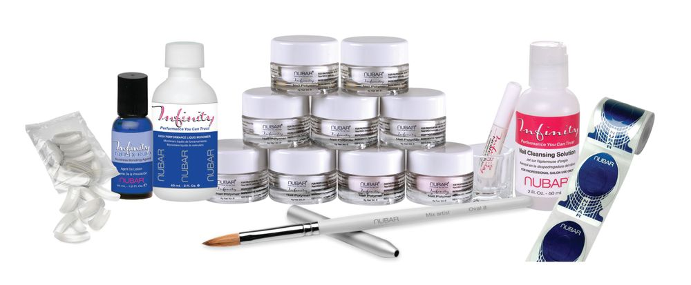 <p>Nubar&rsquo;s Infinity Acrylic System is MMA-free. The polymer powders are milled so that when mixed with the proper ratio of the monomer, you will get a smooth and manageable application. The liquid monomer is formulated with color stabilizers to keep the polymer powders from discoloring.</p>