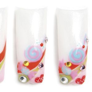 Polish the entire nail using LCN Free Your Mind color gel. Cure for 60 seconds under an LCN...