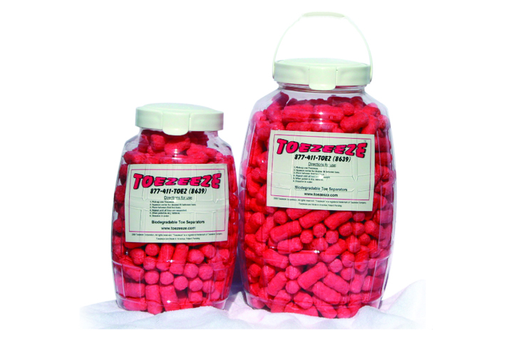"""<p><a href=""""http://www.toezeeze.com"""">Toezeeze</a> toe separators dissolve in water, are biodegradable, and are made with sustainable ingredients. Toezeeze will donate 20% of its proceeds during the month of October to fight breast cancer.</p>"""