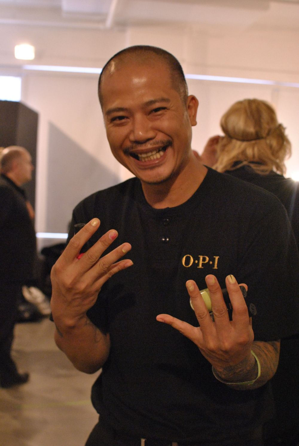 <p>OPI' Vu Nguyen was on hand to help out at Fashion Week.&nbsp;</p>