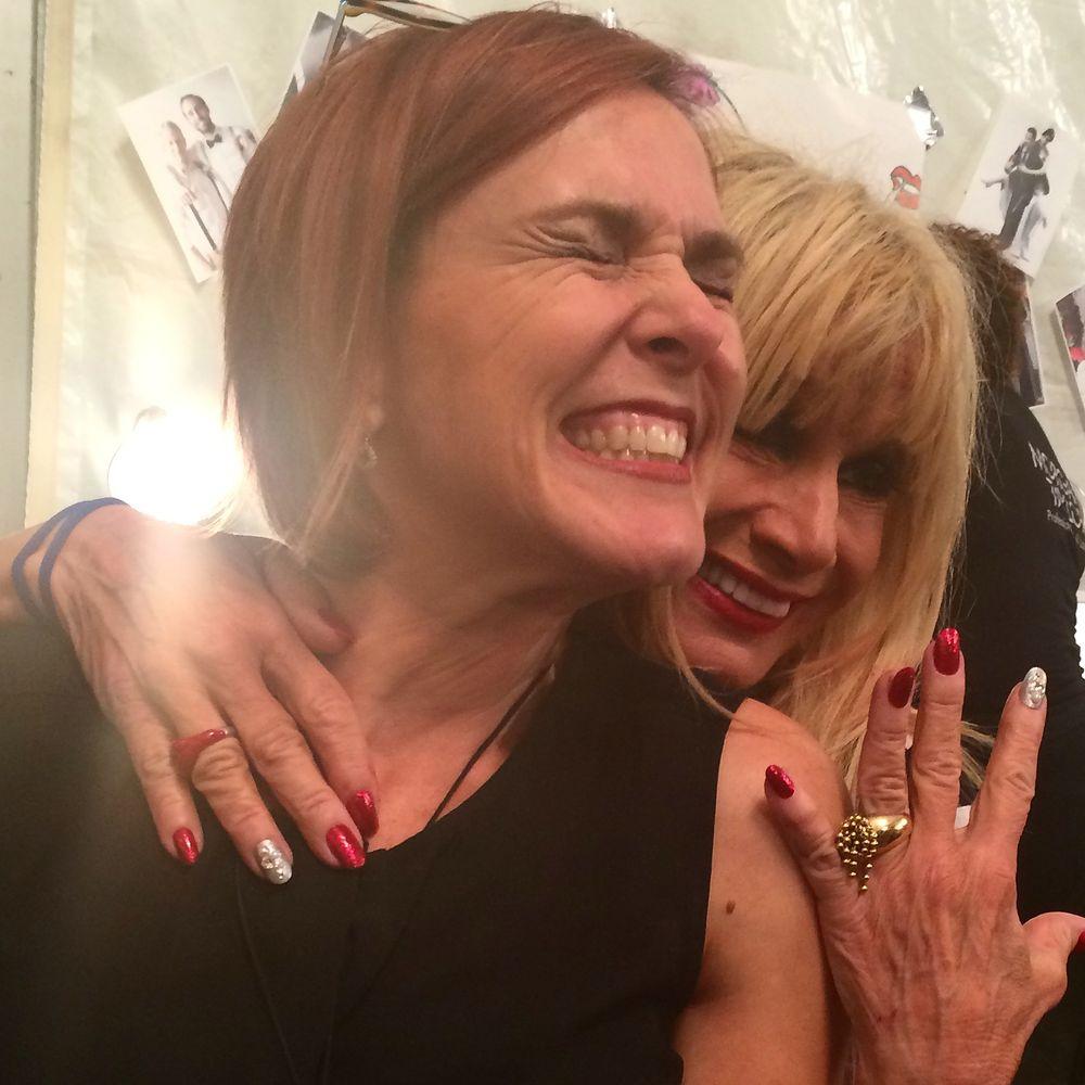 <p>Lead manicurist Danielle Candido got a personal hug from Betsey Johnson.&nbsp;</p>