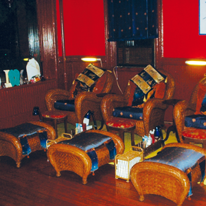 Owner Skyy Hadley looked high and low to find these chairs to match her Moroccan themed salon....