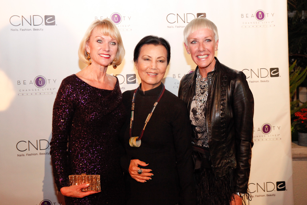<p>Beauty Changes Lives' Lynelle Lynch, actress Kieu Chinh, and CND's Jan Arnold.</p>