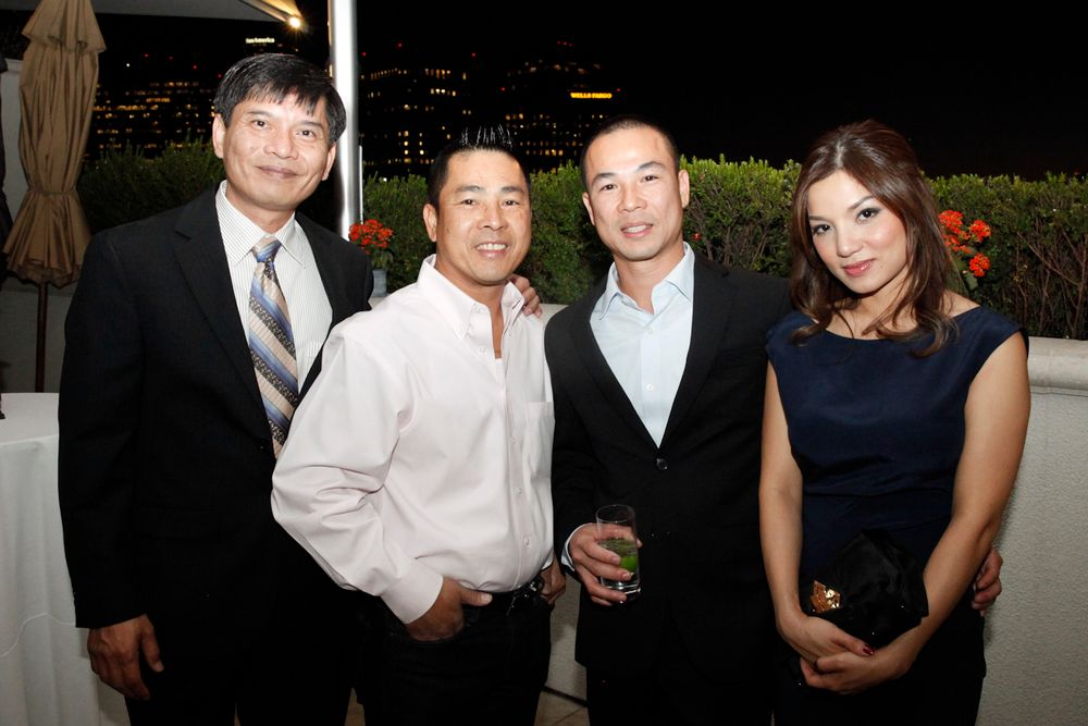 <p>Thong Vu, CND's research development principal scientist, with Nationwide Nails and Beauty Supply's Tuan Nguyen, Central Nail Supply's Tan Nguyen, and Natalie Nguyen.</p>