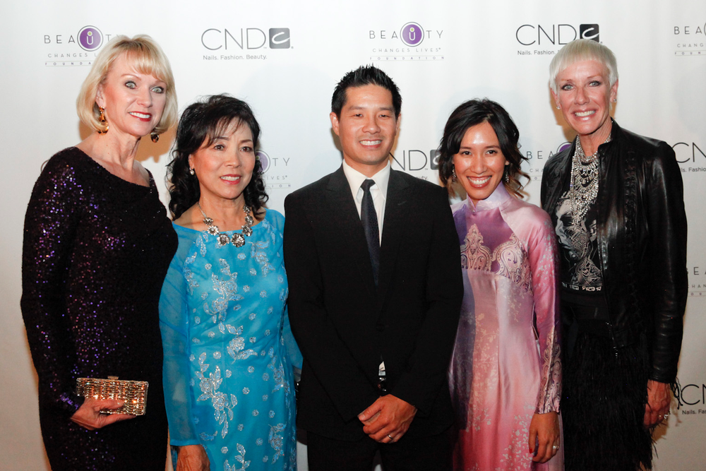 <p>Beauty Changes Lives' Lynelle Lynch, Thuan Le, Advance Beauty College's Tam and Linh Nguyen, and CND's Jan Arnold</p>