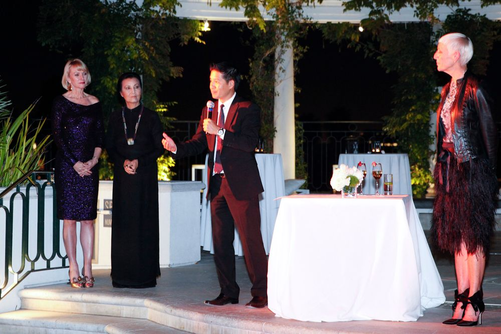 <p>Advance Beauty College's Tam Nguyen speaks highly of honoree Tippi Hedren during the Legacy of Style award ceremony.</p>