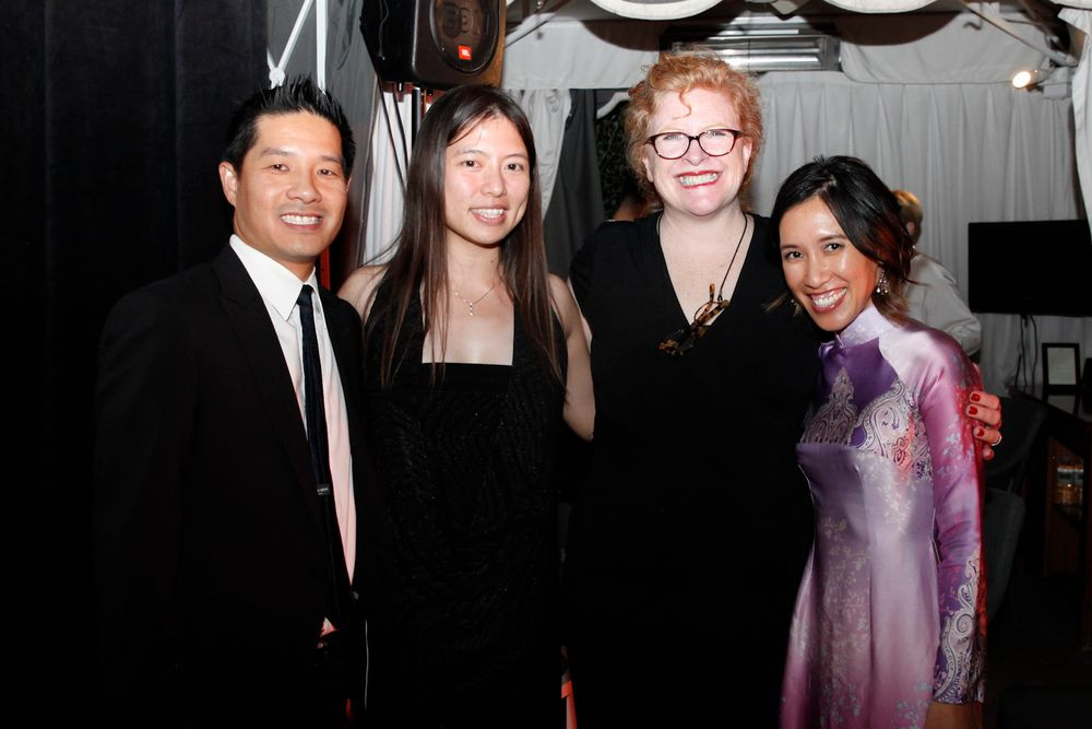 <p>Advance Beauty College's Tam Nguyen, VietSALON's Kim Pham, NAILS's Cyndy Drummey, and Advance Beauty College's Linh Nguyen.</p>
