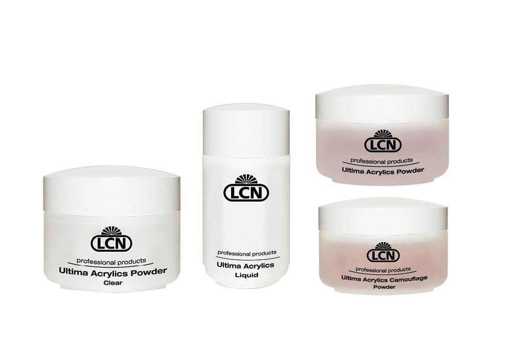 <p>Available in classic pink and white options, camouflage colors, and a dozen shades of pure color and shimmer, LCN&rsquo;s Ultima Acrylics are a modern self-hardening liquid-and-powder system. The acrylics are flexible, non-yellowing and have fewer odors. The liquid improves the set time of the powders to coincide with a technician&rsquo;s need. Ultima Acrylics Camouflage Powder provides coverage for even the most unappealing nails.</p>