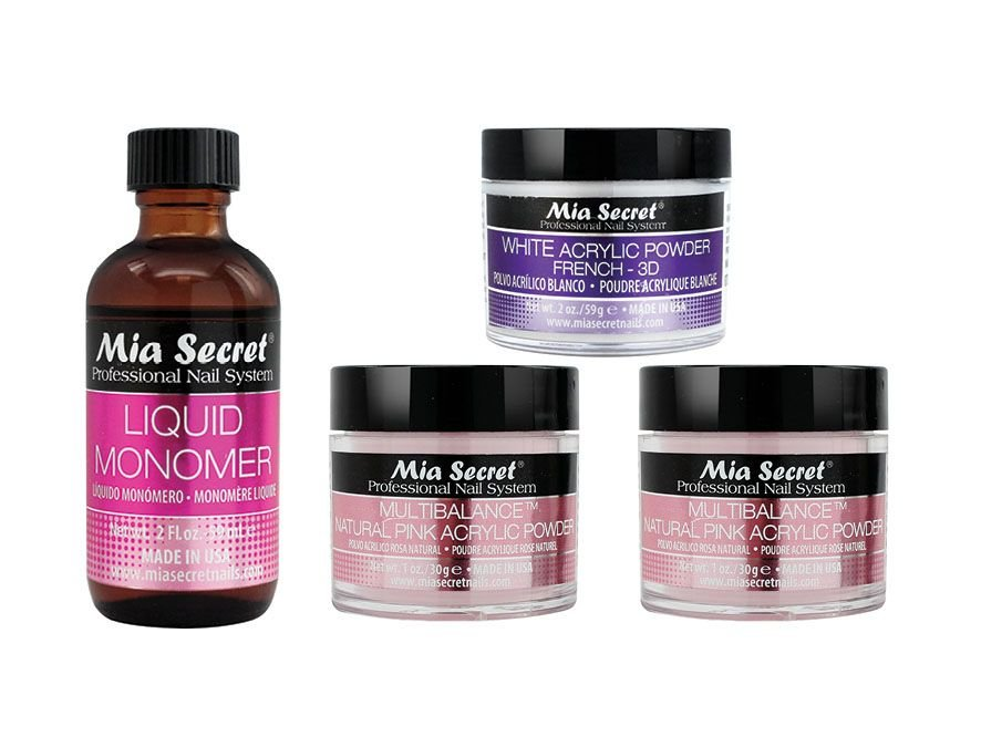 <p>Mia Secret&rsquo;s Acrylic System includes a Liquid Monomer that is MMA-free and has non-yellowing properties. The advanced-blended formula has a low-odor and features proper adhesion for acrylic powders. It is also a color stabilizer that provides strength and endurance. The White Acrylic Powder provides the ideal consistency, activation timing, superior adhesion, and endurance. Pair the products to create a perfectly sculpted nail, 3-D nail art, and French manicures.&nbsp;</p>