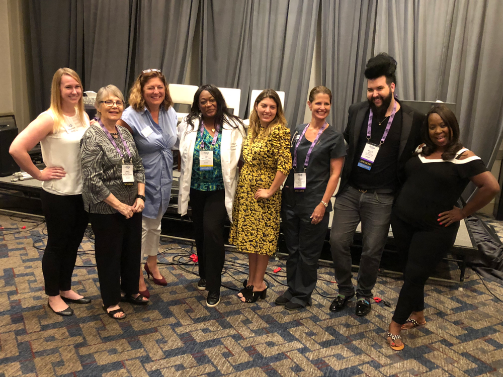 <p>NAILS' Shannon Rahn, Janet McCormick, NAILS' Michelle Mullen, Jae Fulcher, emcee Beth Livesay, Denise Baich, Nellie Neal, and Gloria Williams.</p>