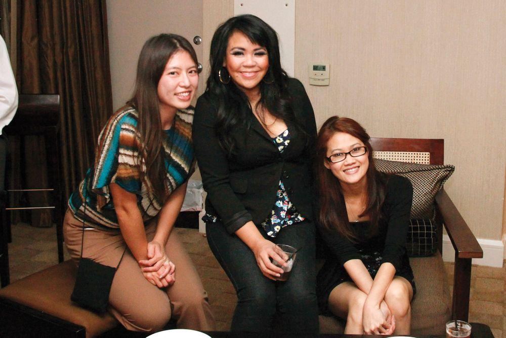 <p>Kim Pham with Alfalfa Nail Supply's Kathy Phan and Annie Phan</p>