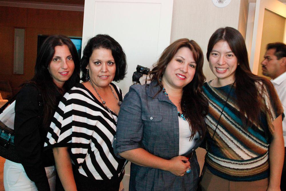 <p>Nubar&rsquo;s Aileen Atlas, Gabby Sanchez, and Lona Martinez with Kim Pham</p>